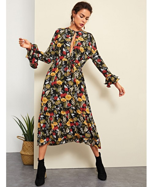 Open Front Bell Sleeve Floral Dress