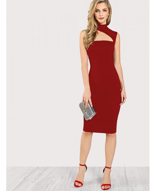 Asymmetric Cut Out Neck Dress