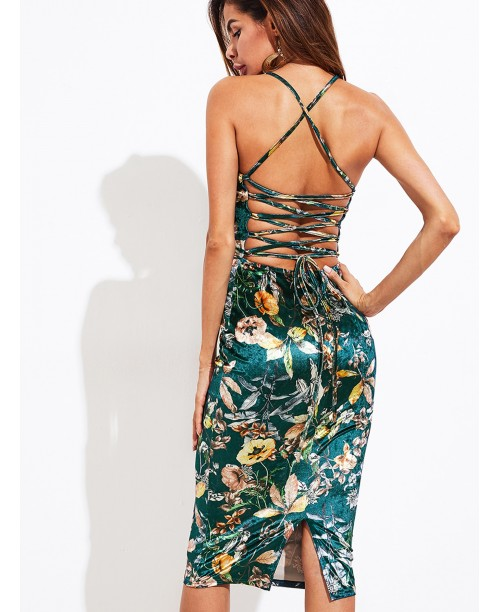 Lace Up Back Botanical Velvet Cami Dress