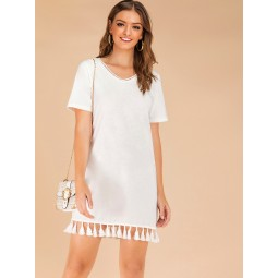 Fringe Hem V-neck Solid Tee Dress