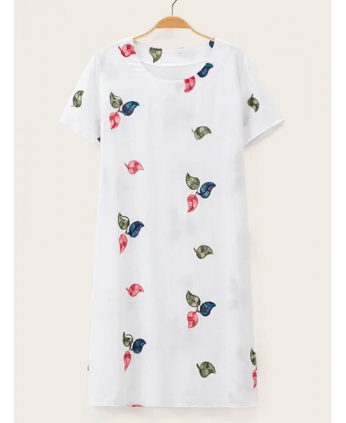 Leaf Embroidery Tunic Dress