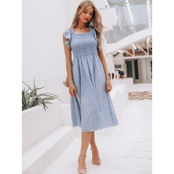 Simplee Striped Print Ruffle Armhole Shirred Dress