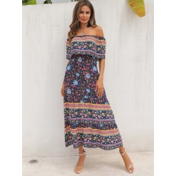 Tribal Ditsy Floral Ruffle Trim Off Shoulder Dress