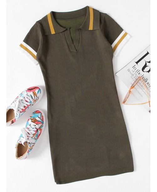 Striped Sleeve Knit Dress
