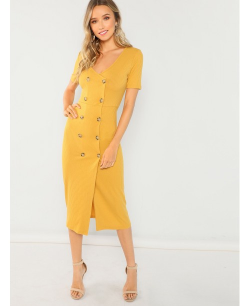 Double Breasted Rib Knit Pencil Dress