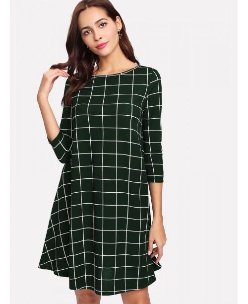 Grid Print Swing Dress