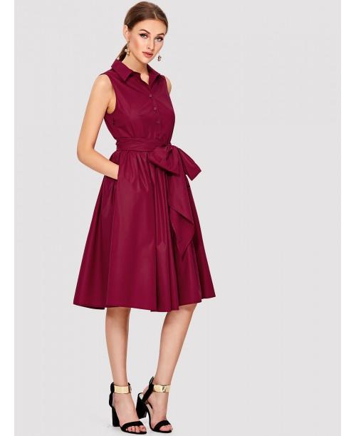 Self Belted Shirt Dress