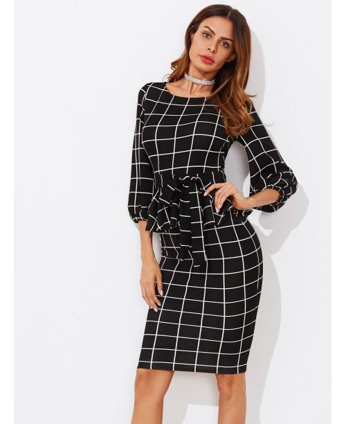 Tie Waist Grid Peplum Dress