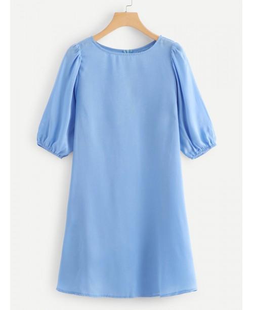 3/4 Sleeve Silky Tunic Dress