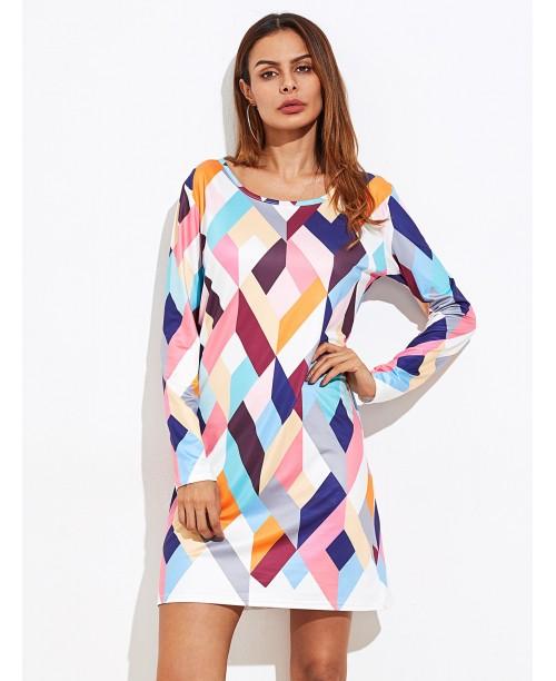 Abstract Geo Print Tee Dress