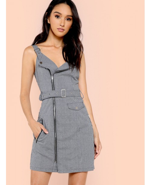 Adjustable Strap and Belted Zip Up Wrap Dress