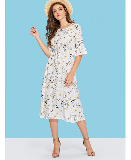 All Over Florals Flounce Sleeve Dress