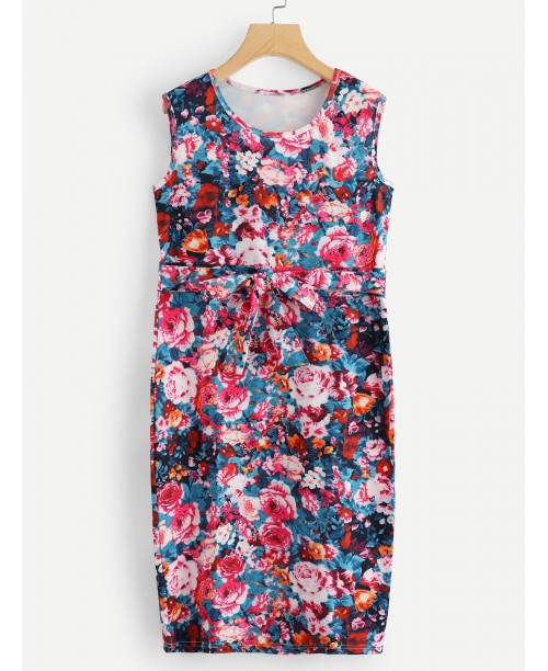 Allover Floral Print Bow Dress