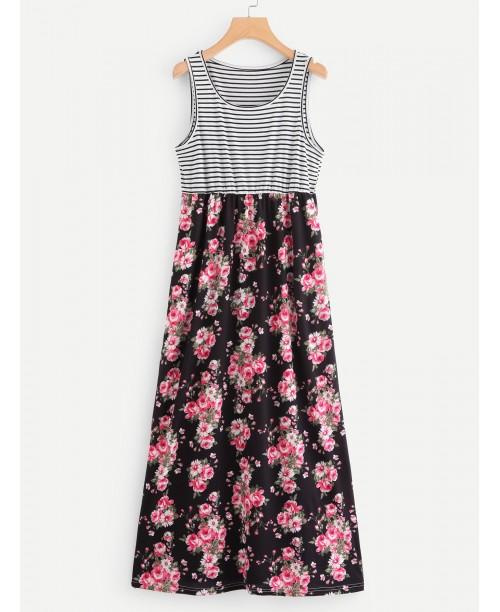 Allover Floral Print Striped Sleeveless Dress