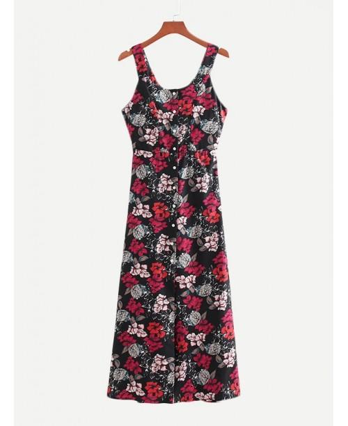 Allover Florals Button Through Dress