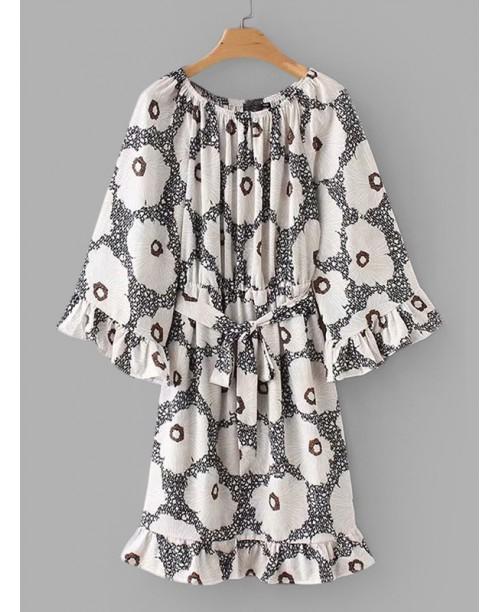 Allover Florals Ruffle Trim Dress