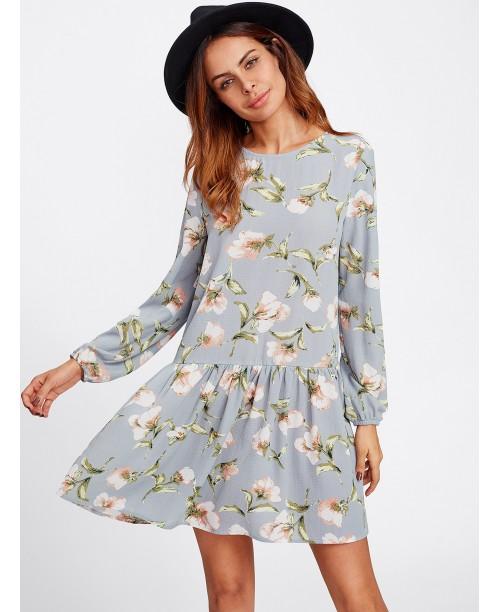 Allover Flower Print Drop Waist Dress