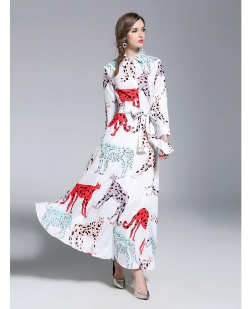 Animal Print Tie Waist Longline Shirt Dress