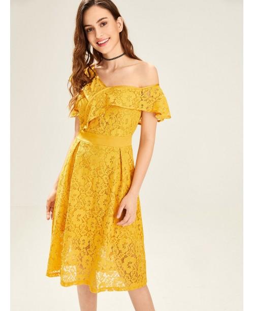 Asymmetric Flounce Shoulder Lace Dress
