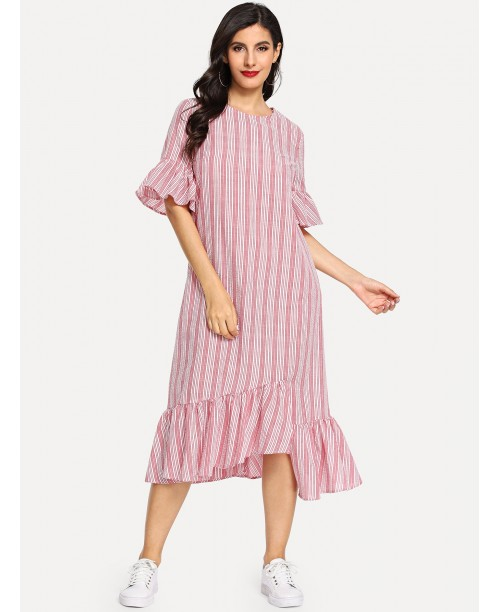 Asymmetric Ruffle Hem Striped Dress
