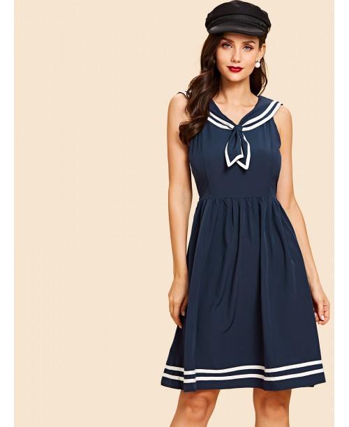 Knot Neck Striped Dress