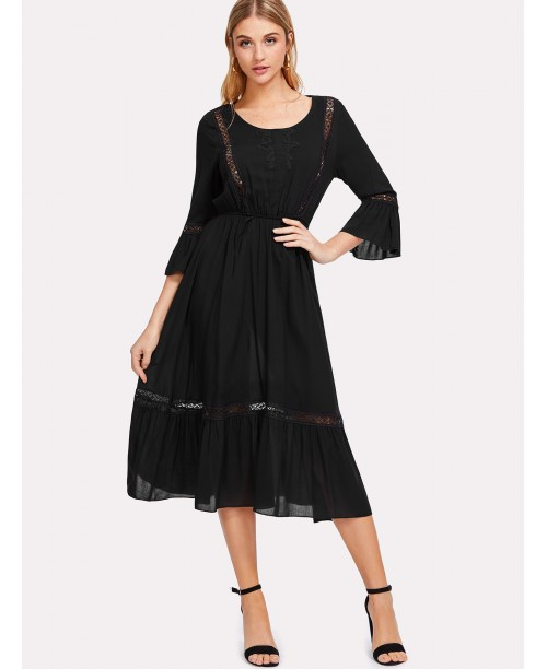 Lace Insert Trumpet Sleeve Dress