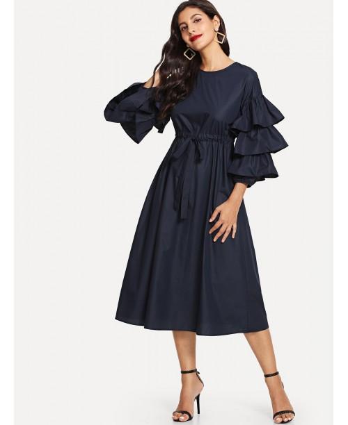 Layered Flounce Sleeve Keyhole Back Belted Dress