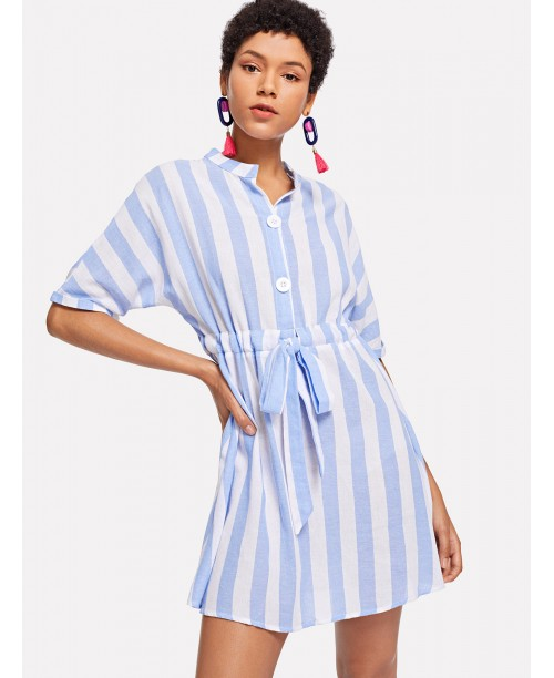 Roll Up Sleeve Striped Shirt Dress