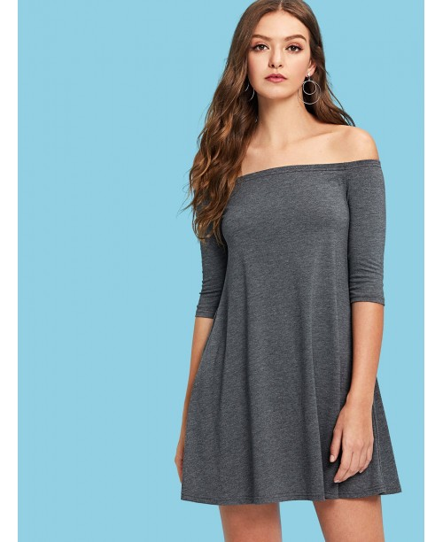 Slant Pocket Off Shoulder Solid Dress