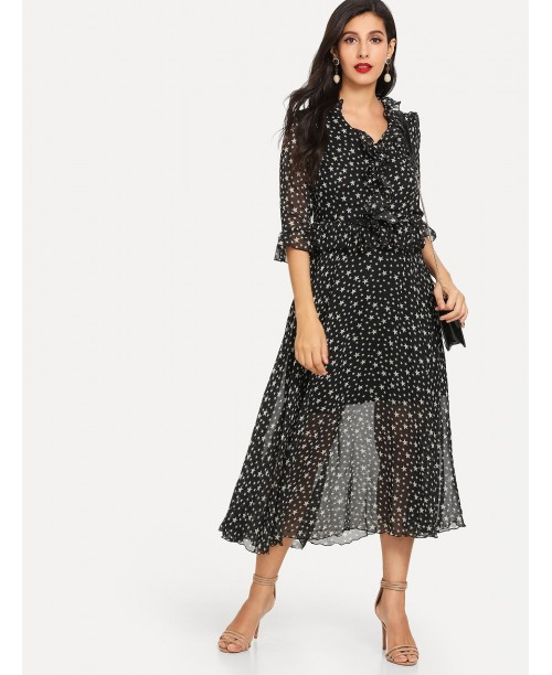 Star Print Mesh Ruffle Dress
