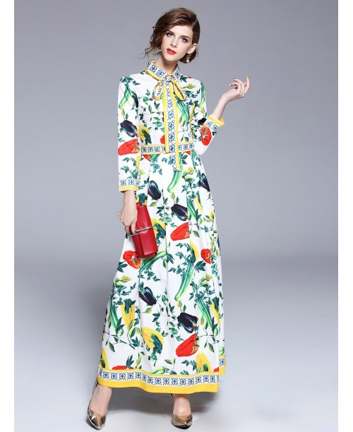 Botanical Print Tie Neck Shirt Dress