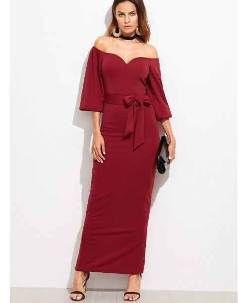 Burgundy Sweetheart Off The Shoulder Belted Dress