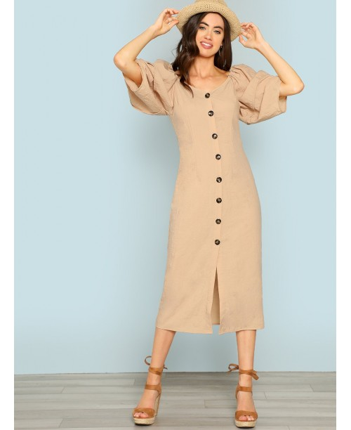 Button Front V-Neck Dress