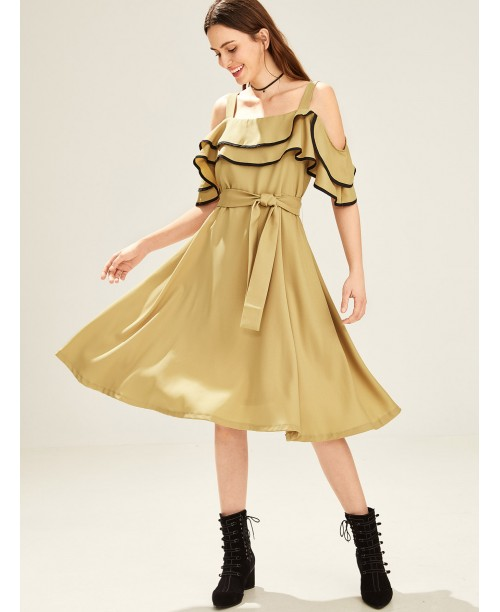 Contrast Binding Ruffle Cold Shoulder Dress