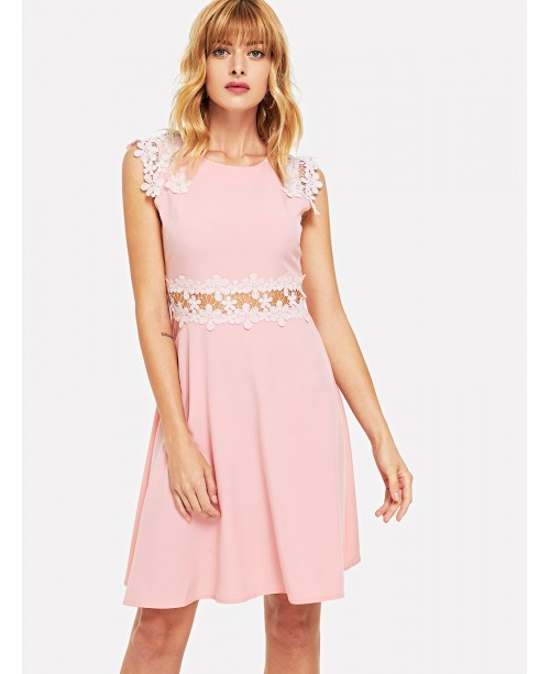 Contrast Lace Plain Dress