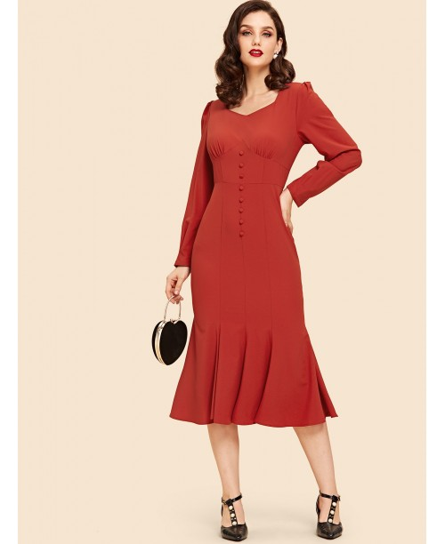 Button Front Pleated Sweetheart Dress