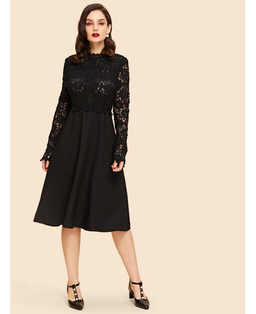 Contrast Lace Sheer Flare Dress