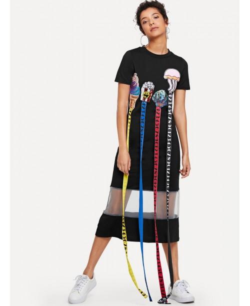 Cartoon Sequin Contrast Mesh Dress