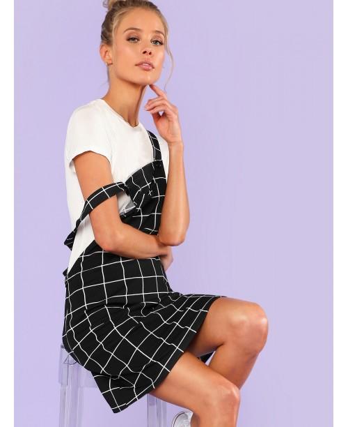 Bib Pocket Front Grid Pinafore Dress