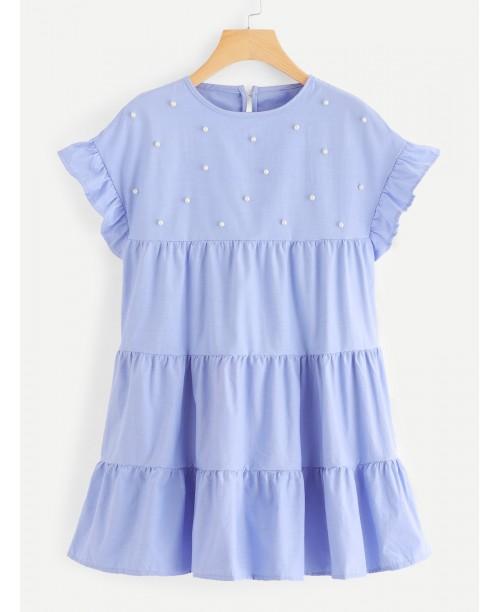 Ruffle Trim Pearl Beaded Dress