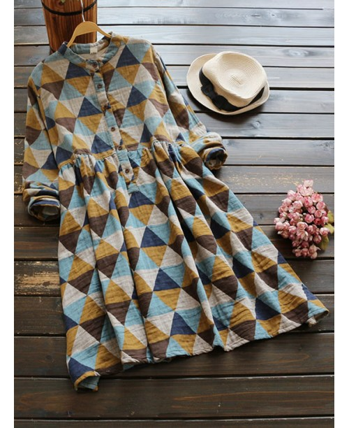 Stand Collar Allover Geo Print Shirt Dress