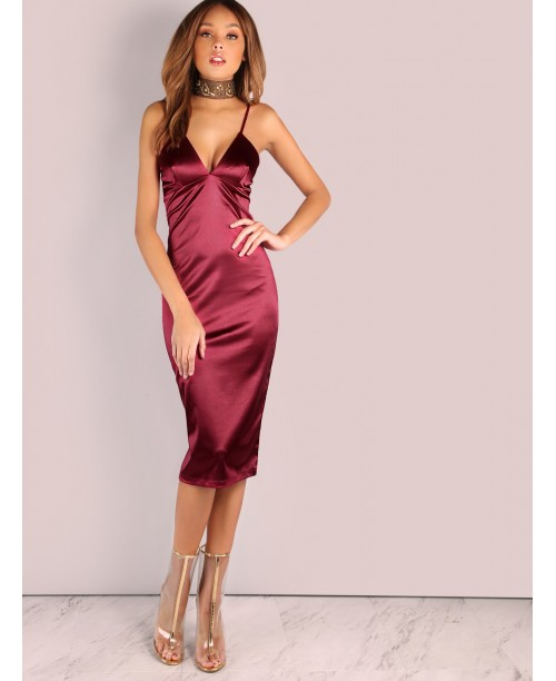 Deep V Satin Bodycon Midi Dress WINE