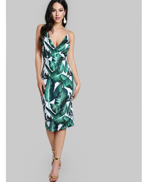 Foliage Print High Slit Frill Bardot Dress