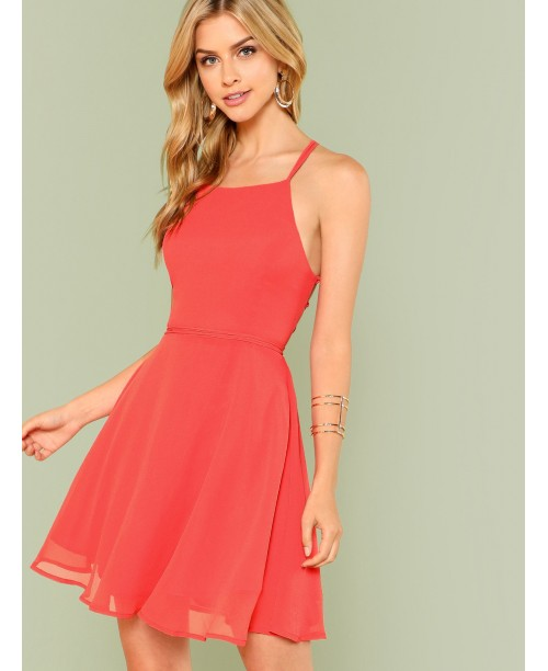 Lace Up Open Back Flare Halter Dress