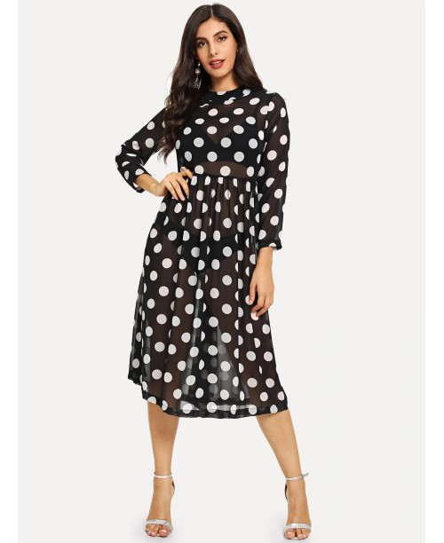 Mock Neck Polka Dot Sheer Dress