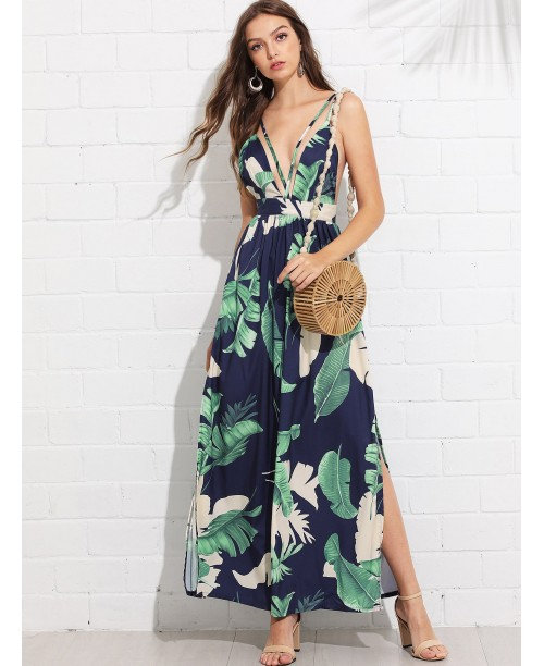 Open Back Tropical Print Split Dress