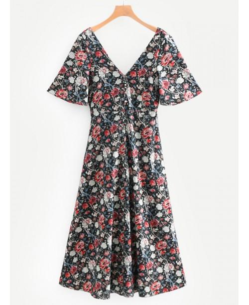 Allover Florals Double V Neckline Dress
