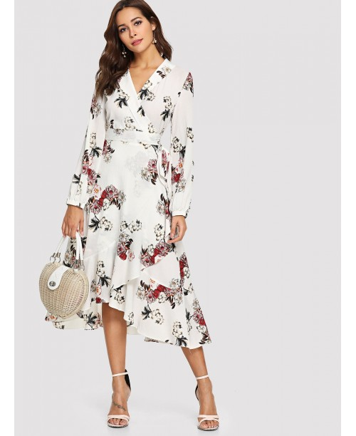 Asymmetric Ruffle Hem Floral Wrap Dress