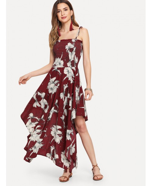 Asymmetrical Hem Floral Print Cami Dress