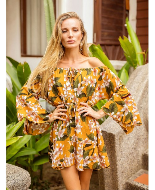 Bardot Flounce Sleeve Drawstring Florals Dress